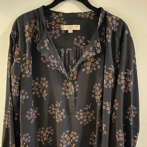 Loft navy floral blouse